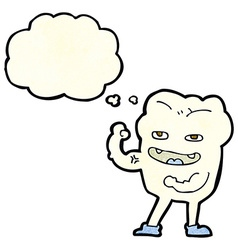 Cartoon strong healthy tooth with thought bubble vector