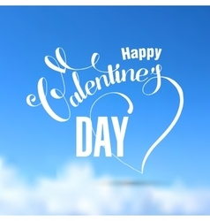 Valentines day lettering blue card vector