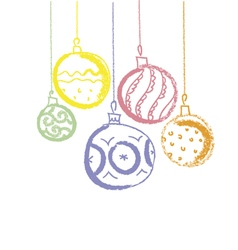 Colored charcoal xmas balls vector