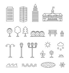 Linear landscape elements icons set line vector