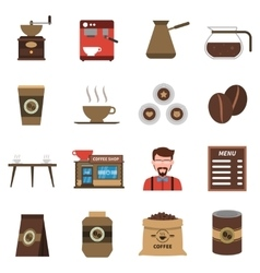 Coffee shop flat icons set vector