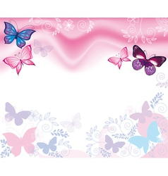 Background with flowers and butterflies vector