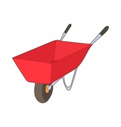 Red wheelbarrow icon cartoon style vector image