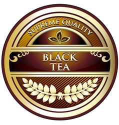 Black tea vintage label vector
