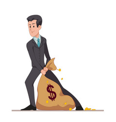 Businessman or manager drags a bag full of money vector
