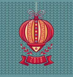 chinese flashlight greeting card winter holidays vector image