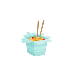 Chinese japanese noodle in box with chopsticks vector