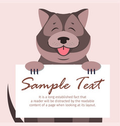 Chow-chow with signboard isolated vector