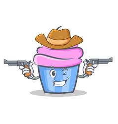 Cowboy cupcake character cartoon style vector