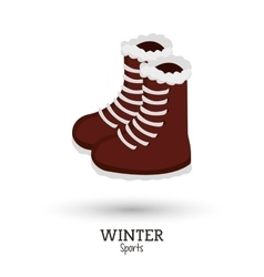 Cute boots winter wear shoes vector