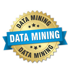 Data mining round isolated gold badge vector