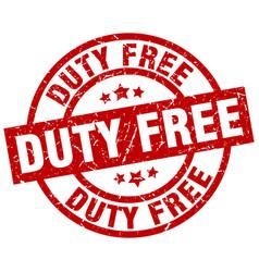 Duty free round red grunge stamp vector