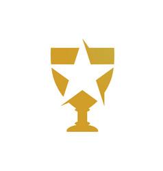gold trophy logo vector image vector image