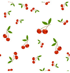hand drawn seamless pattern with cherry vector image vector image
