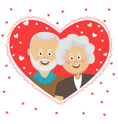 happy elderly couple behind heart shaped frame vector image vector image