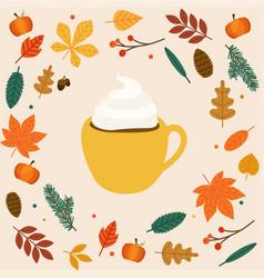 Hello autumn cup of coffeelatte autumn leafs on vector
