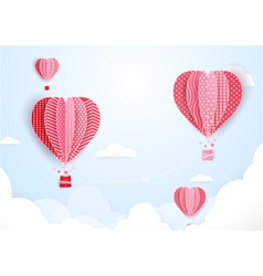Hot air balloons in shape of heart flying vector image vector image
