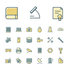 Icons thin blue science device vector