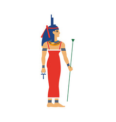 Isis ancient egypt goddess in throne headdress vector