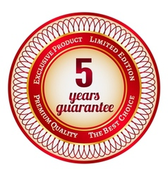 Label on 5 year guarantee vector image vector image