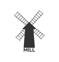 mill black silhouette bakery vector image