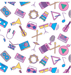 musical set icons pattern vector image