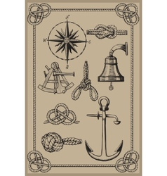 nautical elements on vintage background vector image vector image
