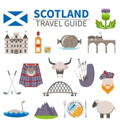 Scotland travel icons set vector
