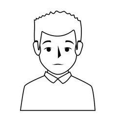 silhouette half body man with t-shirt vector image vector image
