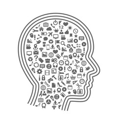 Silhouette head with icons vector