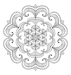 Snow flake in zentangle style paper cutout mandala vector