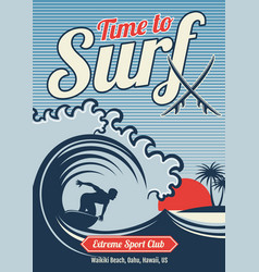 surfing hawaii t-shirt vintage vector image