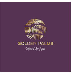tropical golden palms logo resort and spa vector image