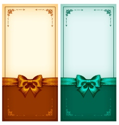 Vintage greeting cards gold and green vector