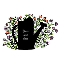 watering can with flowers in the background vector image