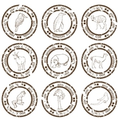 zoo stamps vector image