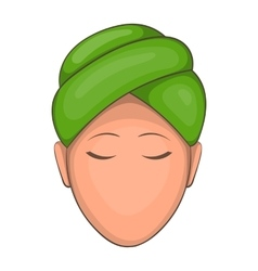 Woman with green towel on her head icon vector