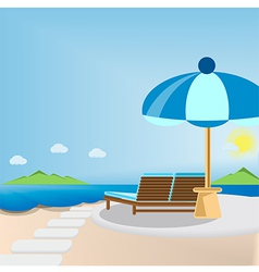 Deck chair and umbrella vector