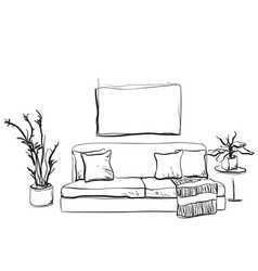Hand drawn sketch of living room interior with a vector