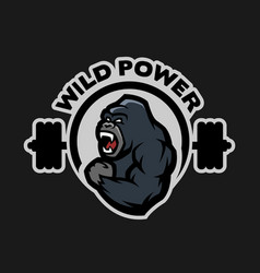angry gorilla sports gym logo vector image