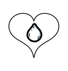 line heart with water drop inside and love symbol vector image