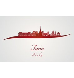 Turin skyline in red vector image