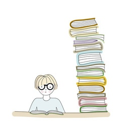 Student wearing glasses and reading a book vector