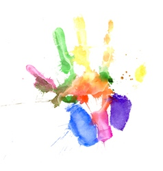 Handprint in vibrant colors vector