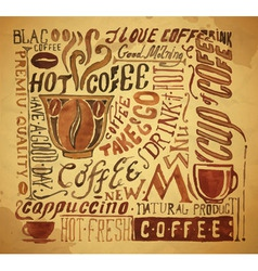 Vintage coffee typography background vector