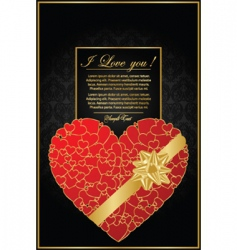 Golden valentine background with heart vector