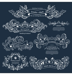 Set of vintage victorian ornaments wedding design vector