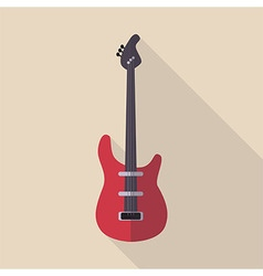 Flat Guitar with Shadow vector image