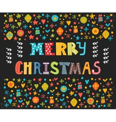 Merry christmas greeting card cute postcard with vector