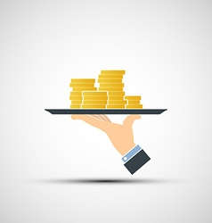 Hand holding a tray with money vector